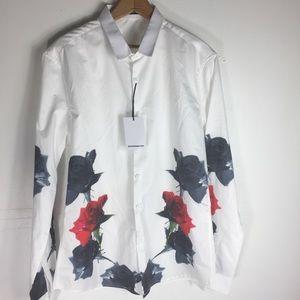 Alex Winter Wu White Floral Button Oxford Chic Top